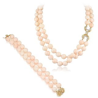 Angel Skin Coral and Diamond Necklace and Bracelet Set