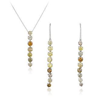 Multi-Colored Diamond Drop Necklace and Earring Set