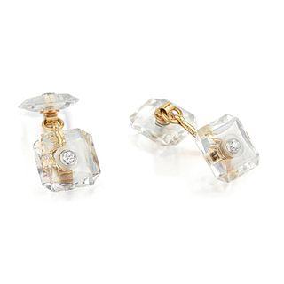 Vintage Diamond and Rock Crystal Cufflinks