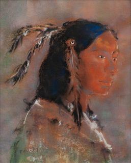 Pawel Kontny (Polish/American, 1923-2002) Portrait of an Indian with Feathers