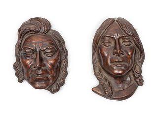 Earle Heikka (American, 1910-1941) Two Recast Bronze Masks, 1974