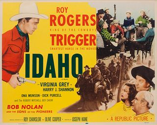 Vintage Movie Poster, Idaho, with Roy Rogers 20 x 25 1/2 inches