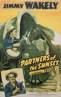 Vintage Movie Poster,Partners of the Sunset 34 x 25 inches