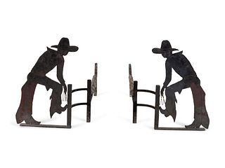 Pair of Cowboy Motif Andirons each height 17 x width 30 inches