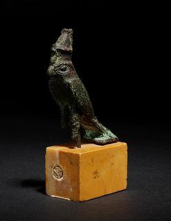 An Egyptian Bronze Horus Falcon Height 2 3/4 inches.