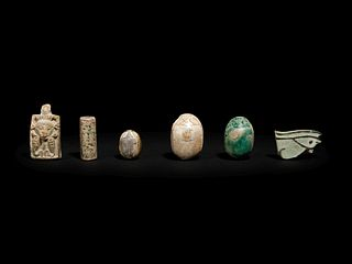 Three Egyptian Steatite and Faience Scarabs Height of tallest example 1 1/8 inches.