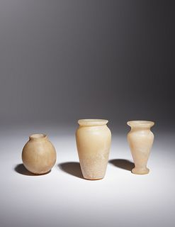 Three Egyptian Alabaster Jars Height of tallest example 3 3/4 inches.