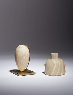 Two Egyptian Alabaster Vessels Height of bottle 3 inches; height of jar 3 3/4 inches.