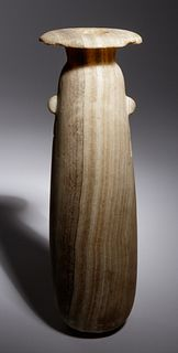 A Large Egyptian Alabaster Alabastron Height 9 3/4 inches.