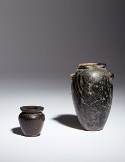 Two Egyptian Granite Vessels Height of taller example 3 1/2 inches.