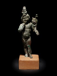 A Romano-Egyptian Bronze Harpokrates Height 4 inches.