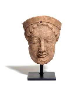 A Greek Terracotta Protome Height 6 1/4 inches.