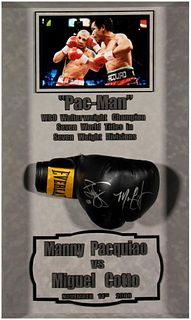 Autographed Boxing Glove By Manny Pacquiao and Miguel Cotto