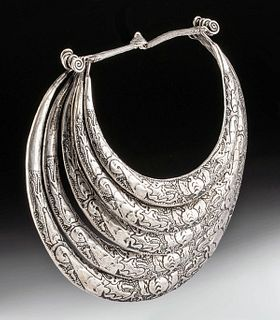 Early 20th C. Chinese Miao Nickel Silver Necklace