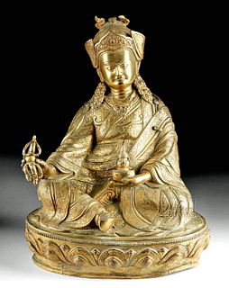 Important 19th C. Tibetan Gilded Bronze Buddha
