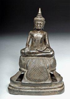 19th C. Thai Silvered Bronze Buddha Votive