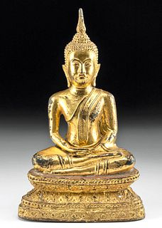 Late 18th C. Thai Rattankosin Gilded Brass Buddha
