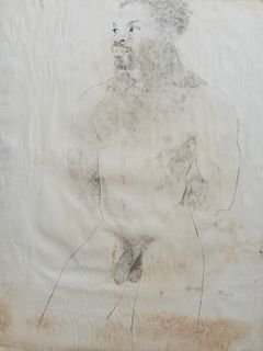 """George Valentine Dureau (1930-2014, New Orleans), """"Portrait of a Nude Standing Afro-American Male,"""" unsigned, shrink wrapped, H.- 39 1/2 in., W.- 30 i"""