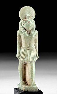 Published Exhibited Egyptian Faience Ra-Horakhty Figure