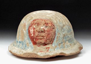 Fantastic Egyptian Polychrome Canopic Jar Lid - TL'd