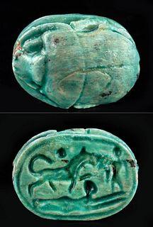 Egyptian Glazed Faience Scarab w/ Maahes