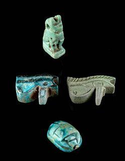 Lot of 4 Egyptian Glazed Faience Amulets