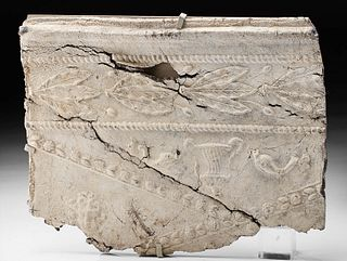 Roman Lead Sarcophagus Panel w/ Gorgoneion and Dolphins
