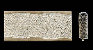 Syrian Steatite Cylinder Seal Bead w/ Linear Motif
