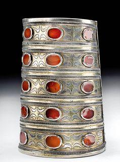 19th C. Turkoman Tekke Gilt Silver Bracelet w/ Agates