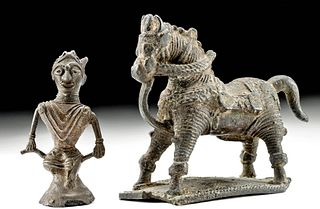 19th C. Indian Bastar Brass Horse & Rider