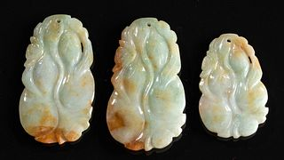 Lot of 3 Early 20th C. Chinese Jade Botanical Pendants