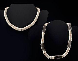 Lot of 2 Vintage Navajo Heishi Necklaces, One w/ Silver