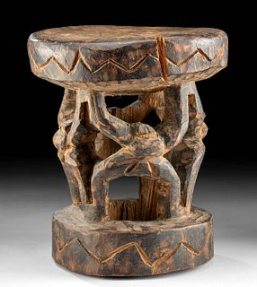 Early 20th C. Cameroonian Bamum Wood Stool w/ Figures