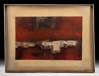 James Chan Leong Mixed Media - Landscape in Reds, 1961