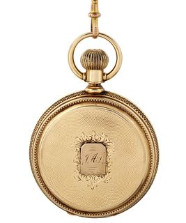 AN AMERICAN WALTHAM 14K GOLD AND ENAMEL HUNTER CASE KEYLESS LEVER POCKET WATCH AND CHAIN, APPLETON, TRACY & CO. MODEL, MOVEMENT NO. 6'534'513, CASE NO