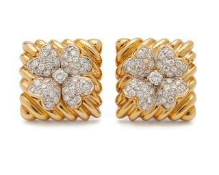 DAVID WEBB 18K Gold and Diamond Earclips