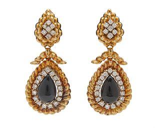 DAVID WEBB 18K Gold, Platinum, Onyx, and Diamond Pendant Earclips