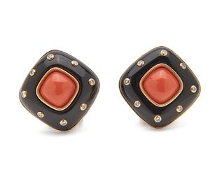 TRIANON 14K Gold, Onyx, Coral, and Diamond Earclips
