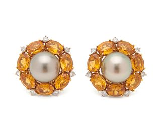 SEAMAN SCHEPPS 18K Gold, Pearl, Citrine, and Diamond Earclips