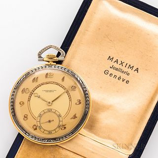 "Swiss 18kt Gold Open Face Watch, tricolor dial marked ""Chronometre/Geneve,"" with matted gilt chapter ring, applied Breguet-style numera"