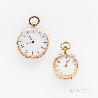 Two 14kt Gold Open-face Pendant Watches, arabic numeral stem-wind, pin-set example with an engraved case back, and a roman numeral key-