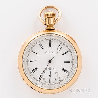 Auguste Saltzman Open-face Watch, beveled crystal above the roman numeral porcelain dial with sunk seconds, and Breguet-style hands, st
