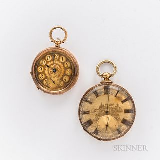 Two Gold European Open-face Watches, 18kt gold M.J. Tobias with engraved case, gilt roman numeral dial, and a key-wind, key-set movemen