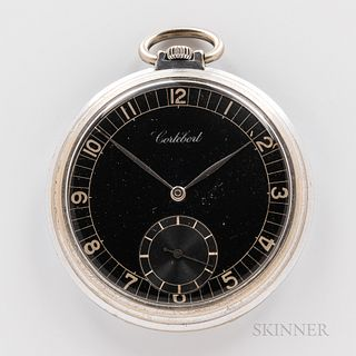 Cortebert Open-face Watch. black arabic numeral dial, silvered hands, sunk seconds, art-deco inspired engraved hinged case back, stem-w