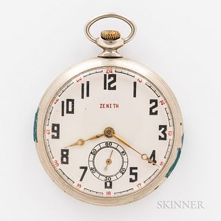 Zenith Open-face Watch, arabic numeral with dial with red 24-hour outer track, gilt hands, and sunk seconds, stem-wind, stem-set gilt m