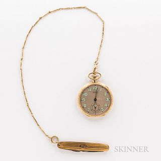 Gruen Watch Co. 14kt Gold Watch with Chain and Penknife, open-face watch with arabic numeral luminescent dial and leaf hands, engine-tu