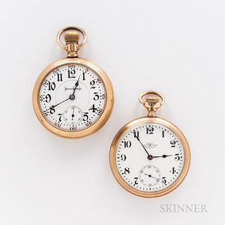 Two American Open-face Watches, Illinois Watch Co. fancy arabic numeral dial with sunk center and seconds, 21-jewel Bunn Special moveme