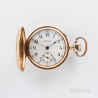Waltham 14kt Gold Hunter-case Pendant Watch, bird- and floral-engraved case, with arabic numeral dial, sunk seconds at 6, stem-wind, st