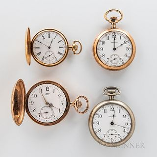 Two 14kt Gold Hunter-case Watches and Two Others, a 15-jewel hunter-case Waltham in a gold case; a J. Farber hunter-case in a gold case