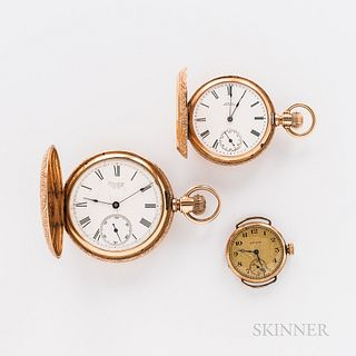 "Two 14kt Gold Hunter-case Watches and a Converted Wristwatch, Waltham Watch Co., ""Riverside"" with roman numeral dial, and a stem-wind,"